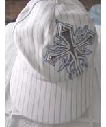 Silver Cross Embellished White Pinstripe Black Jack Snap Back Baseball Cap - $14.46