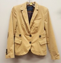 ZARA Size M Faux Suede Brown Elbow 2 Button Fitted Blazer Jacket - $34.75