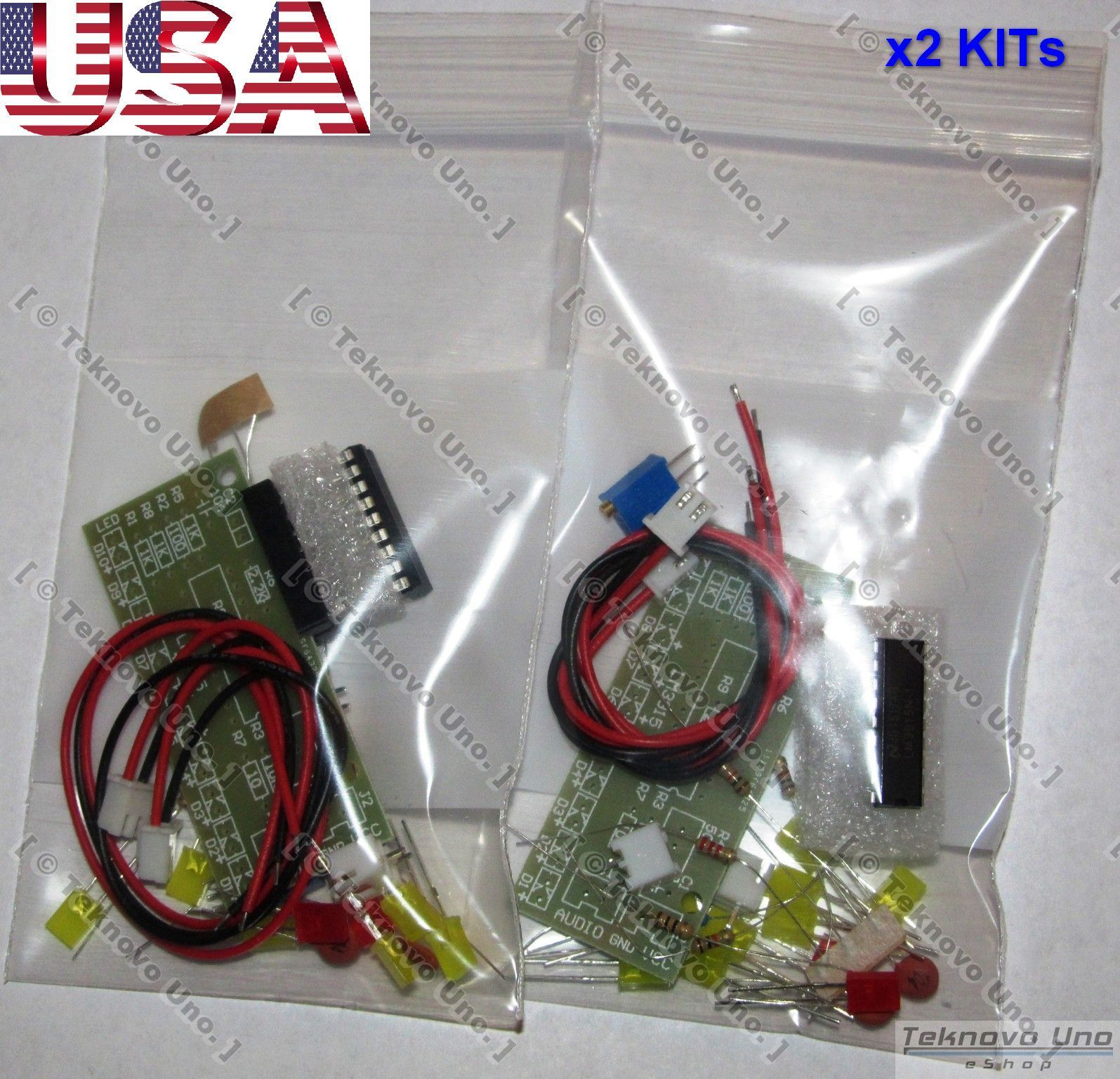 x2 DIY KITs Audio Level Meter LM3915 [LED VU Meter] FULL Parts - USA