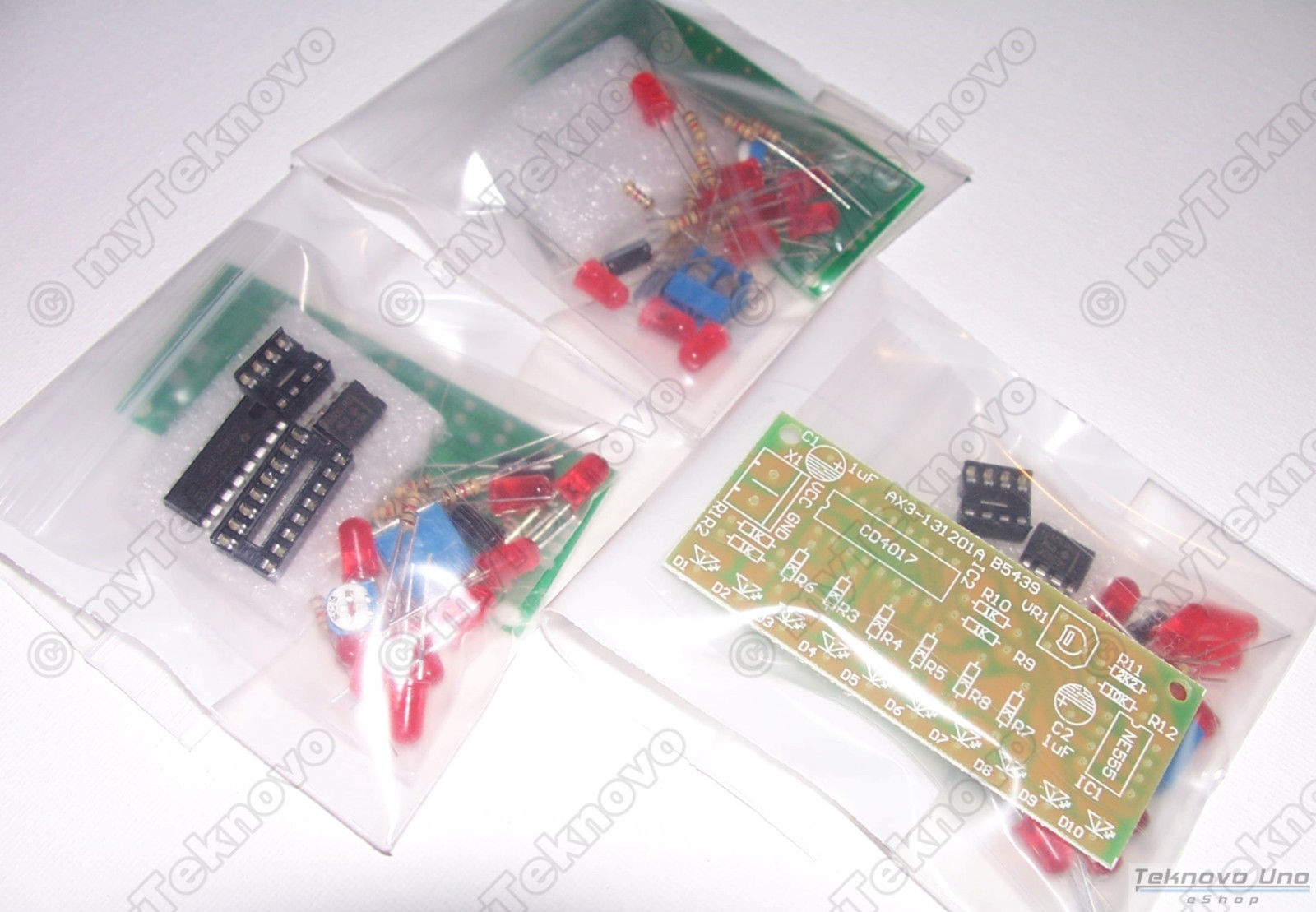Primary image for x3 NE555 & CD4017 LED Light Chaser / Sequencer / Follower / Scroller DIY KIT USA