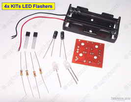4x LED Flasher Transistor KIT DIY [Basic LED Flash Strobe] w/ LED Lights... - $6.23