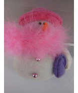 "Christmas Ornament Red Hat Ladies Pink w boa on snowman woman 4"" plush b... - $4.94"