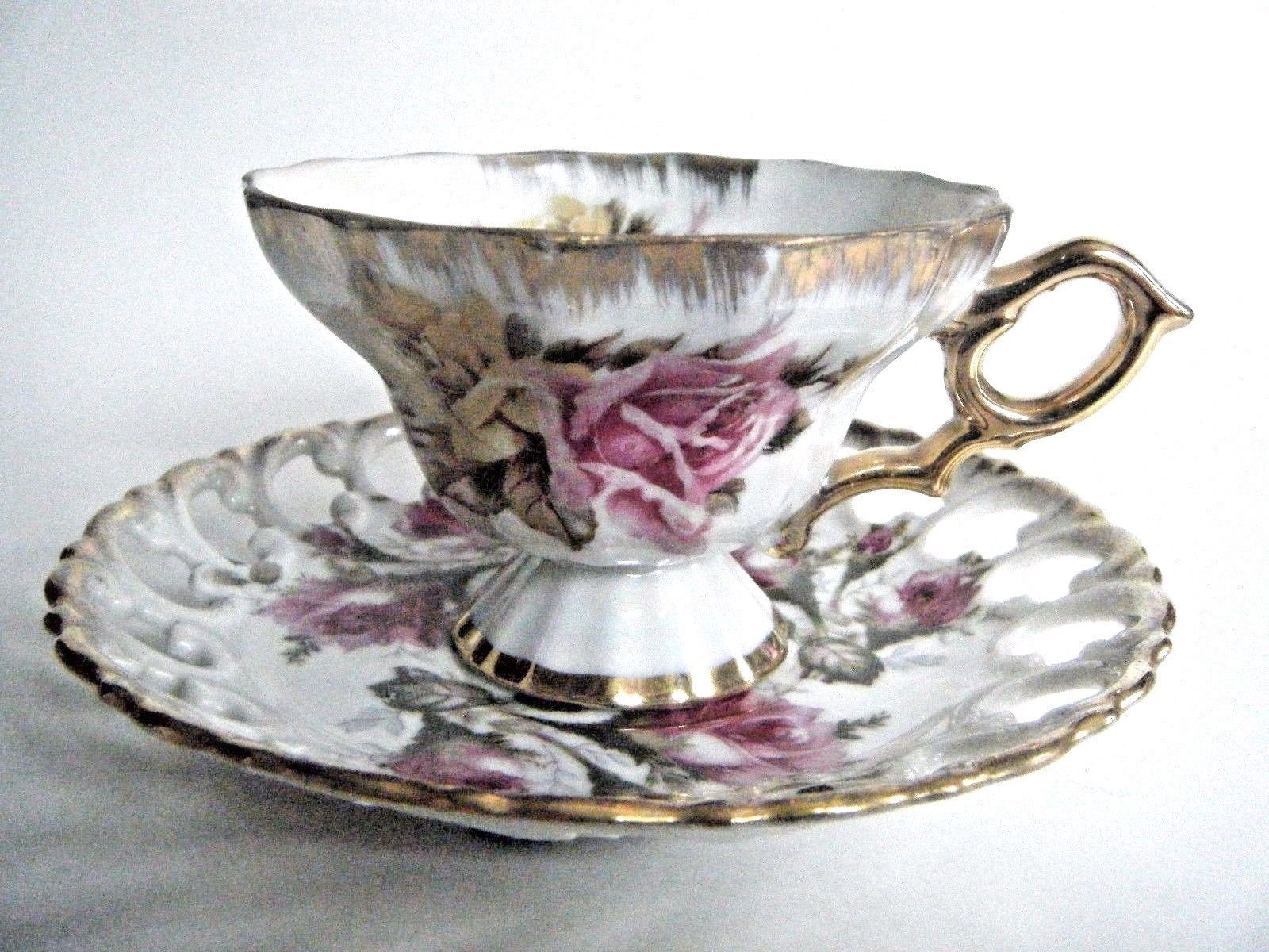 Royal Sealy China Tea Cup & Saucer Set Rose Pattern With