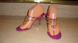 STYLISH JIMMY CHOO VIOLET SANDALS / HEELS  WITH GOLD TONE ACCENTS - WORN... - $195.00