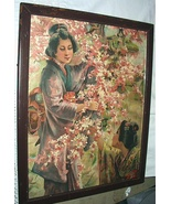 LOVELY ANTIQUE PRINT-JAPANESE GIRLS,CHERRY,DOGWOOD FLOWERS-A - $80.75