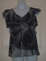 Karen Kane NEW Size XL White Black Multi Ruffle Graphic Stripe Chiffon Top  - $37.15