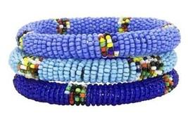 Blue Beaded Bracelet Bangle African Handmade, Maasai Masai, Massai, Set ... - $17.77