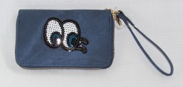 Sequin Eye Blue Zip Around Clutch/Wallet/Wristlet