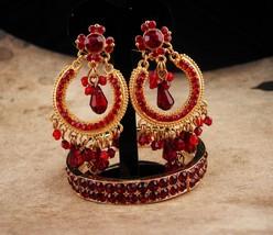 Gypsy earrings / Red Bohemian bracelet / chandelier clip on earrings / garnet  - $125.00
