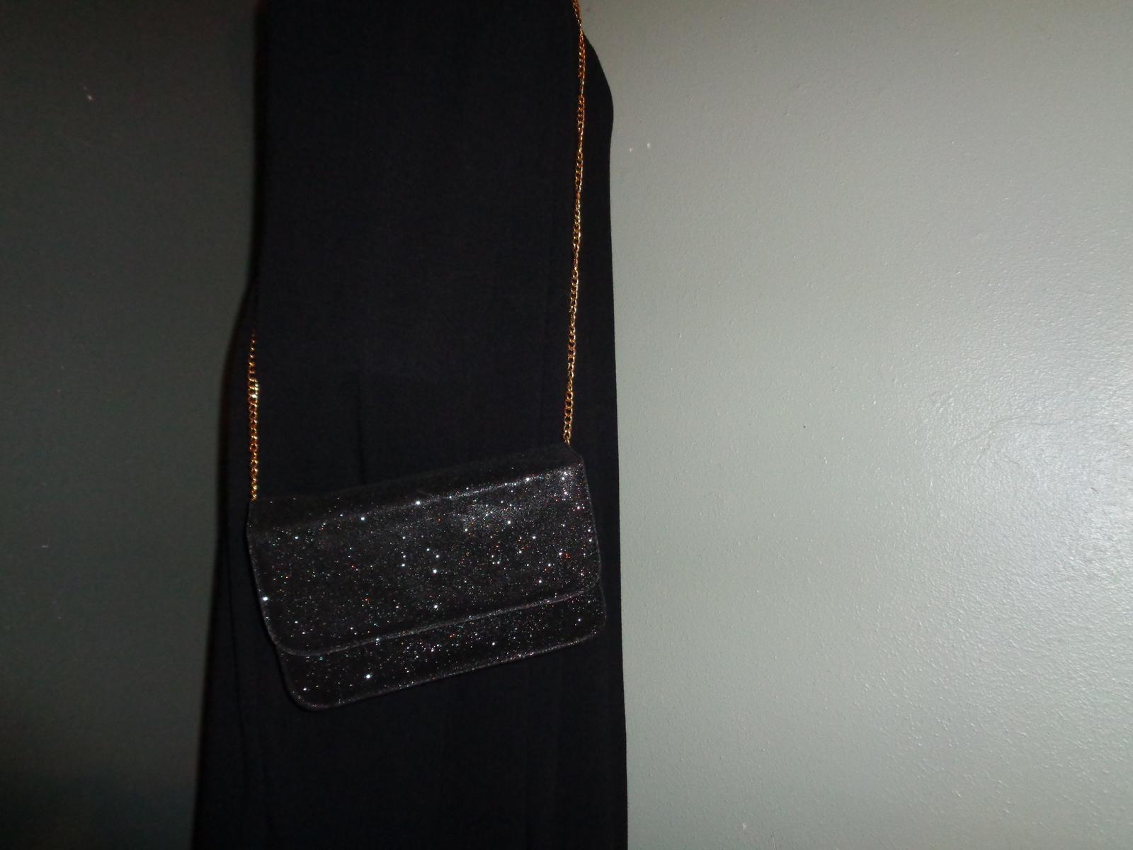 "Black Sparkle Cross Body Evening Purse Gold Chain 25"" NIP 3 Compartments"