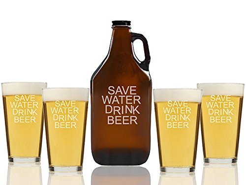 Save Water Drink Beer Beer Amber Growler and Pint Glasses (Set of 5)