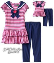 SZ 8 Dollie & Me Pink Navy Sailor Dress + Leggi... - $58.05