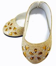 "Gold Glitter Bling Ballet Flats Shoes for 18"" A... - $4.95"