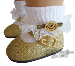 Gold Glitter Shoes + Rosebud Socks for American... - $11.93