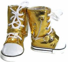 """Gold Metallic Sneakers Boots Shoes made for 18""""... - $8.77"""