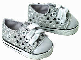 """Silver Sequin Sneakers Gym Shoes made for 18"""" A... - $6.79"""