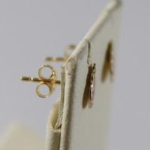 18K YELLOW GOLD CHILD LADYBIRD LADYBUG MINI EARRINGS GLAZED, FLAT, MADE IN ITALY image 2