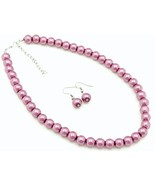 Purple pearl bridal wedding party bridesmaids prom necklace earring set - $10.88