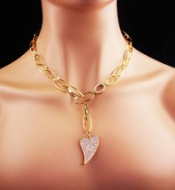 Heart necklace / CZ Heart pendant / signed sweetheart necklace / Irish h... - $95.00