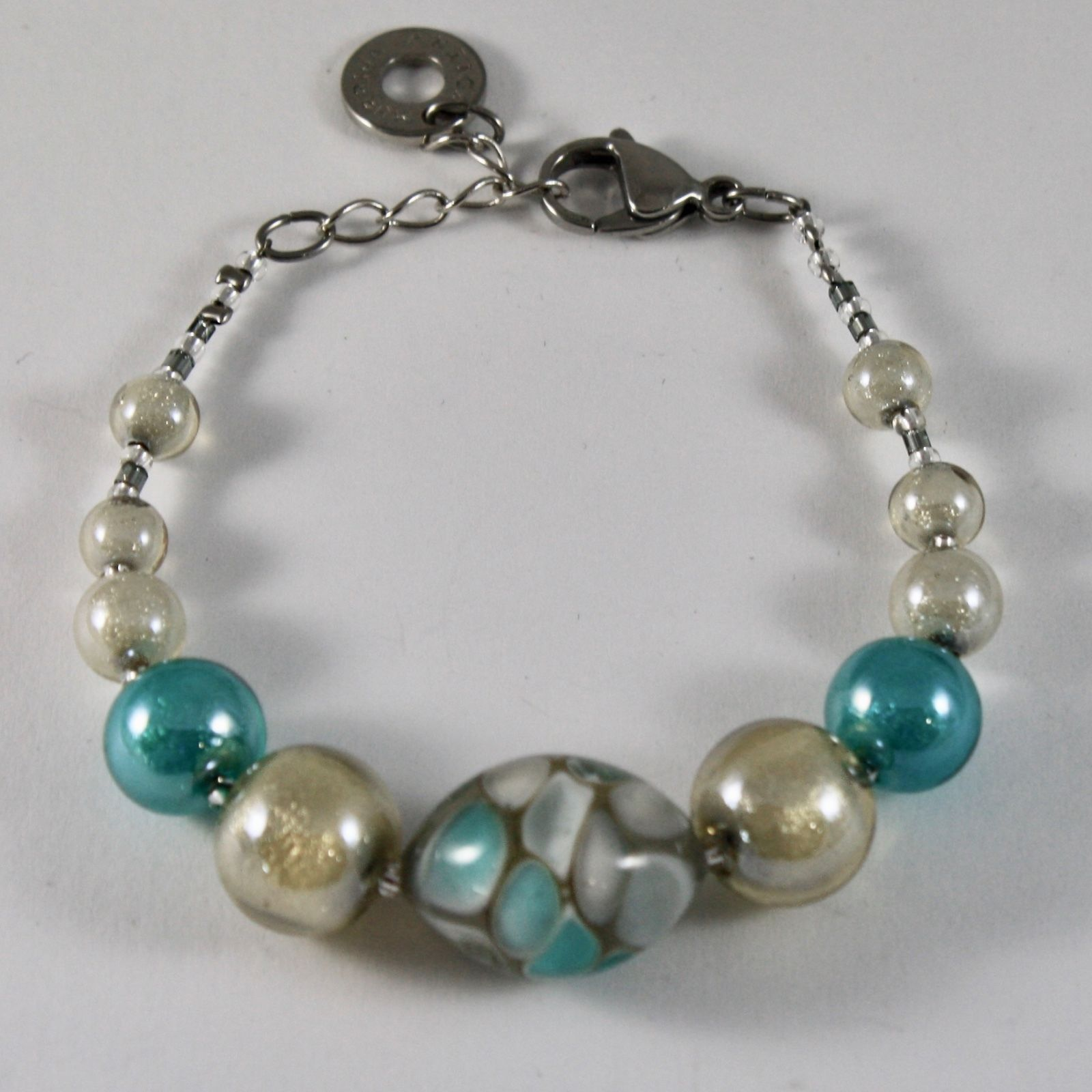 ANTICA MURRINA VENEZIA BRACELET WITH MURANO GLASS BEADS 7.5 INCHES LONG, GREEN