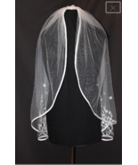 Ivory waist-length Bridal Veil with Lace with Rhinestones - $78.21