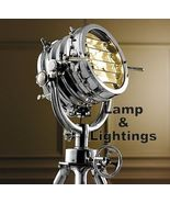 Big Hallway Modern Floor Lamp With Metal Tripod Searchlight E 27 Vintage... - $549.00