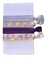 Elastic Hair Tie Ponytail Holder No Crease FOE 4 Pack 'Purple Pastels' - $4.99