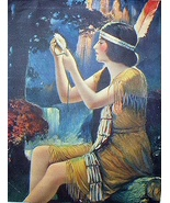 Lovely Indian Maiden Deco Print-Holding Daisy Flower,Waterfa - $55.00