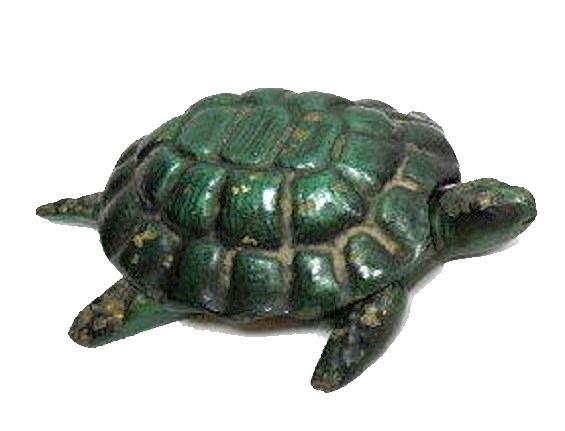 Vintage Bronze Green Ashtray Trinket Tray Box Turtle Tortoise