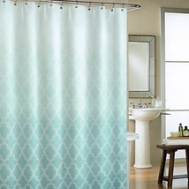 Cynthia Rowley Classic Moroccan Tile Quatrefoil Ombre Turquoise Shower C... - $49.45