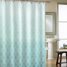 Cynthia Rowley Classic Moroccan Tile Quatrefoil Ombre Turquoise Shower C... - $47.47