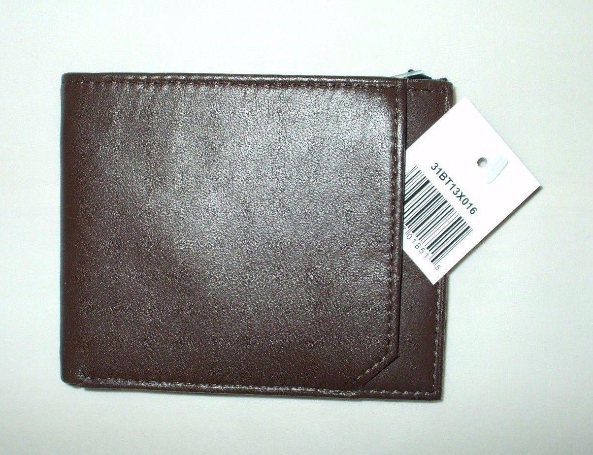 New Geoffrey Beene Montgomery Bifold Wallet Genuine Leather Brown Billfold Cards