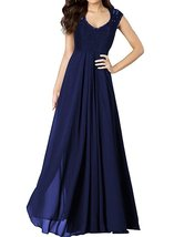 Cap Sleeves Lace Prom Dresses Navy Blue, Evening Gown Long,Formal Party Dress - $139.00