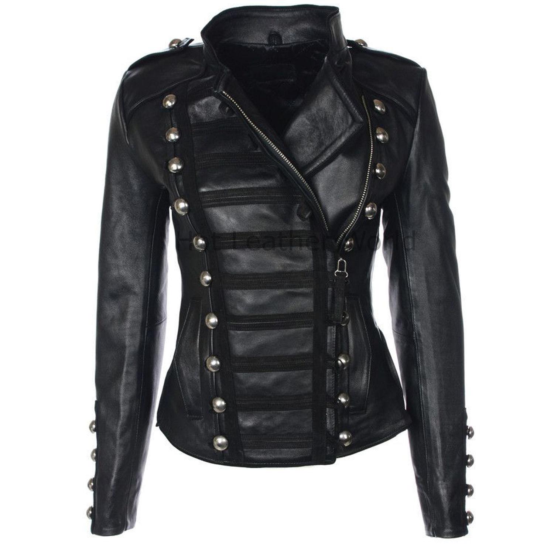 HotLeatherWorld Women Military  Leather Jacket Women Genuine Leather Jacket M2