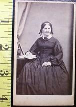 CDV Carte De Viste Photo Lady No Teeth & Book! c.1859-80    - $3.20