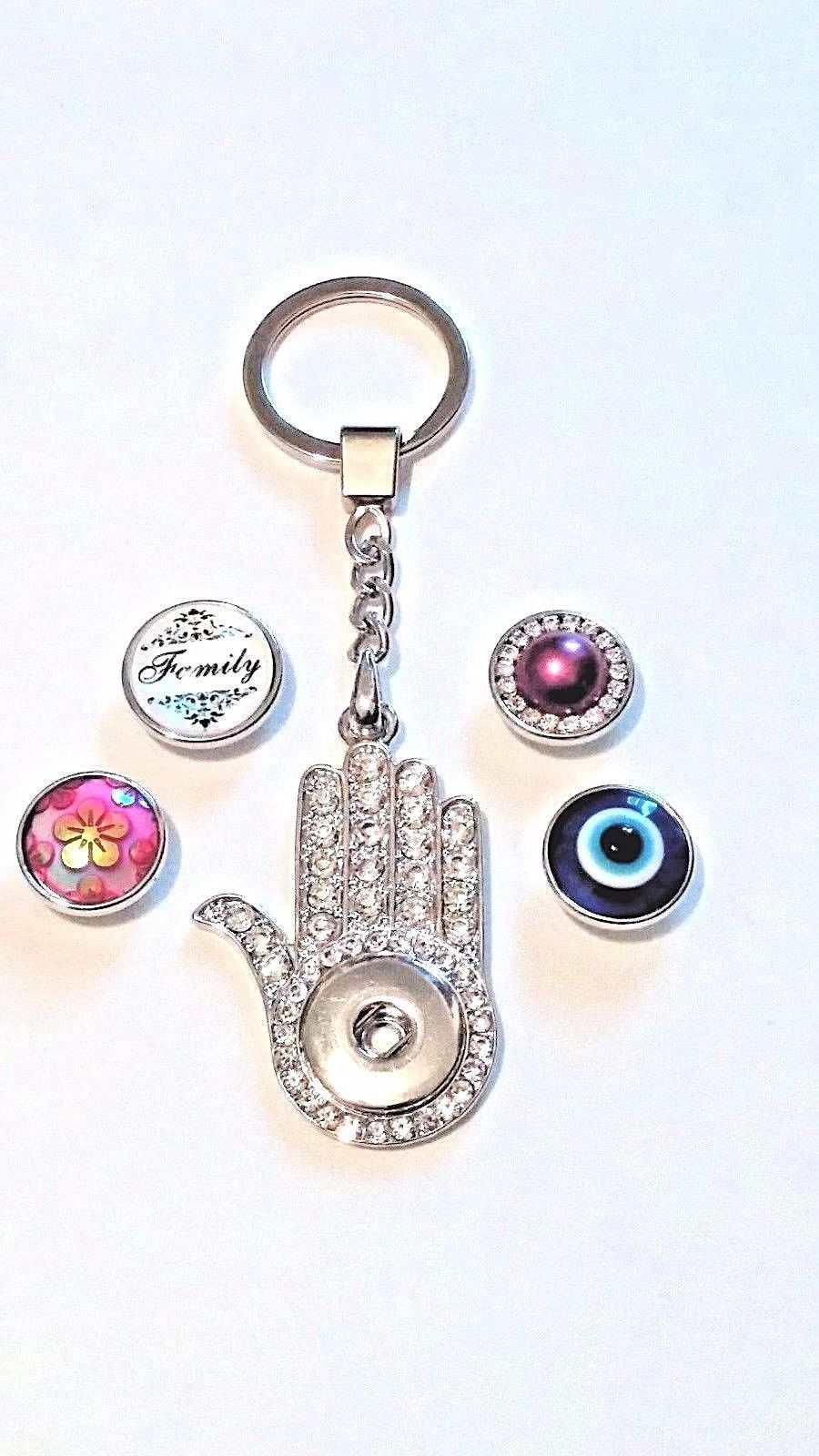 NEW UNIQUE Sparkly Hand SNAP KEY CHAIN   + 4  snaps works w/Ginger snaps 18 mm
