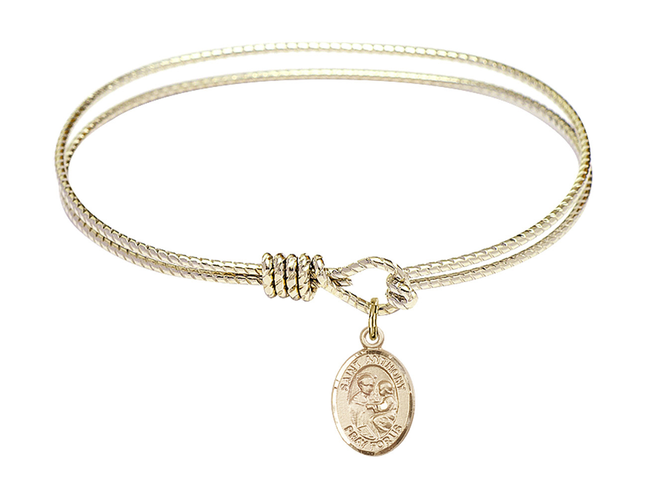 Saint Anthony of Padua 6 1/4 Oval Eyehook 14kt Gold Filled Bangle Bracelet - $79.99