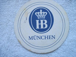 HB Munchen Pulp Board Beer Drink Coaster Blue White Crown Stained Dirty - $2.00