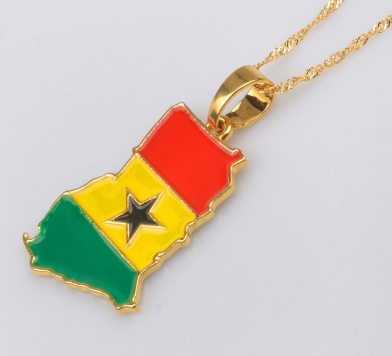 Primary image for Ghana Map/Flag Pendant Necklace Gold Color Jewelry Ghanaian Country