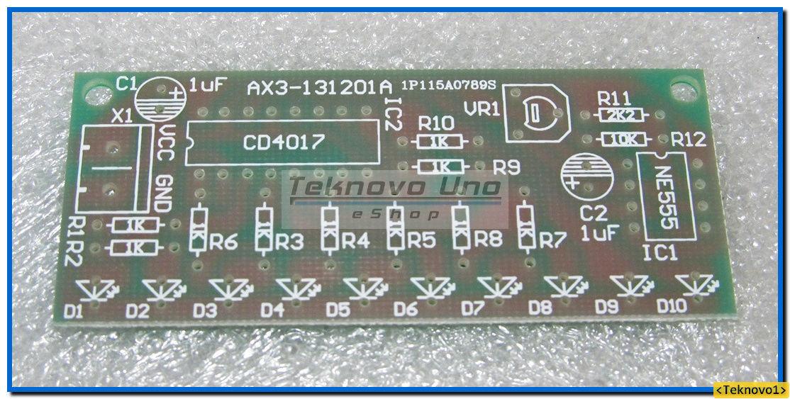 x1 NE555 & CD4017 LED Light Chaser / Sequencer / Follower / Scroller DIY KIT USA