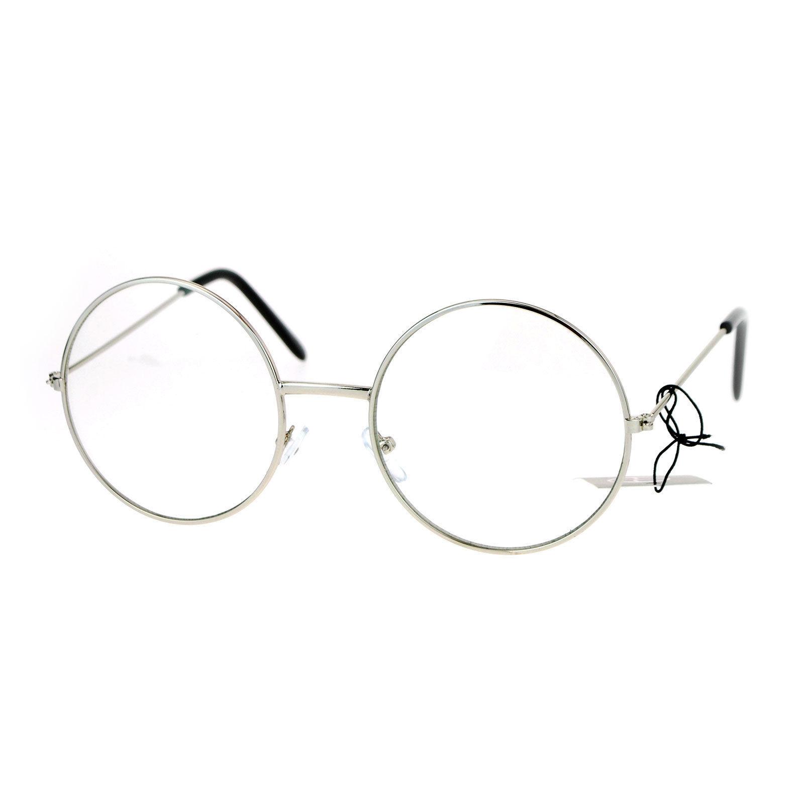 Clear Lens Eyeglasses Unisex Fashion Round Circle Metal Frame UV 400