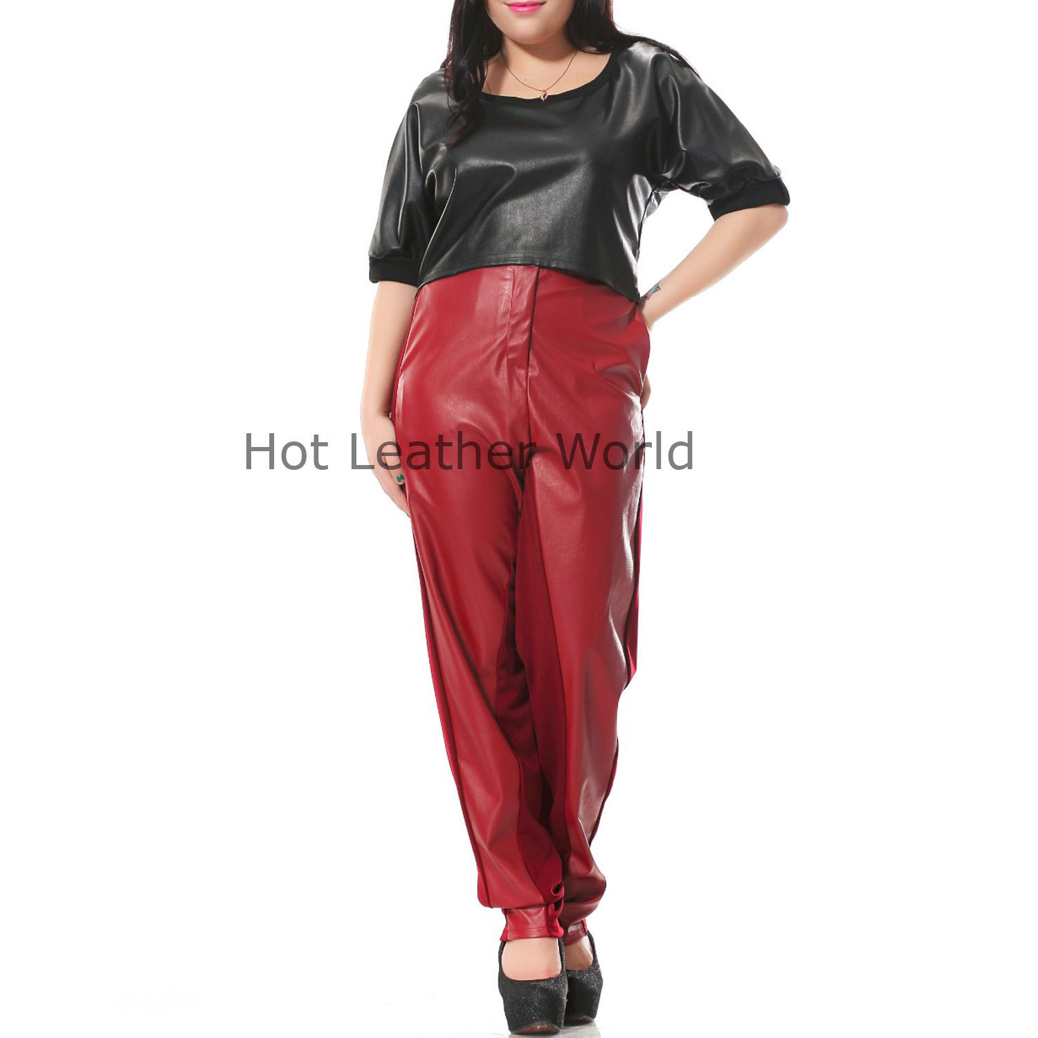 HotLeatherWorld Women Sexy Trendy Women Leather Pant Leather Capri Trouser P-9