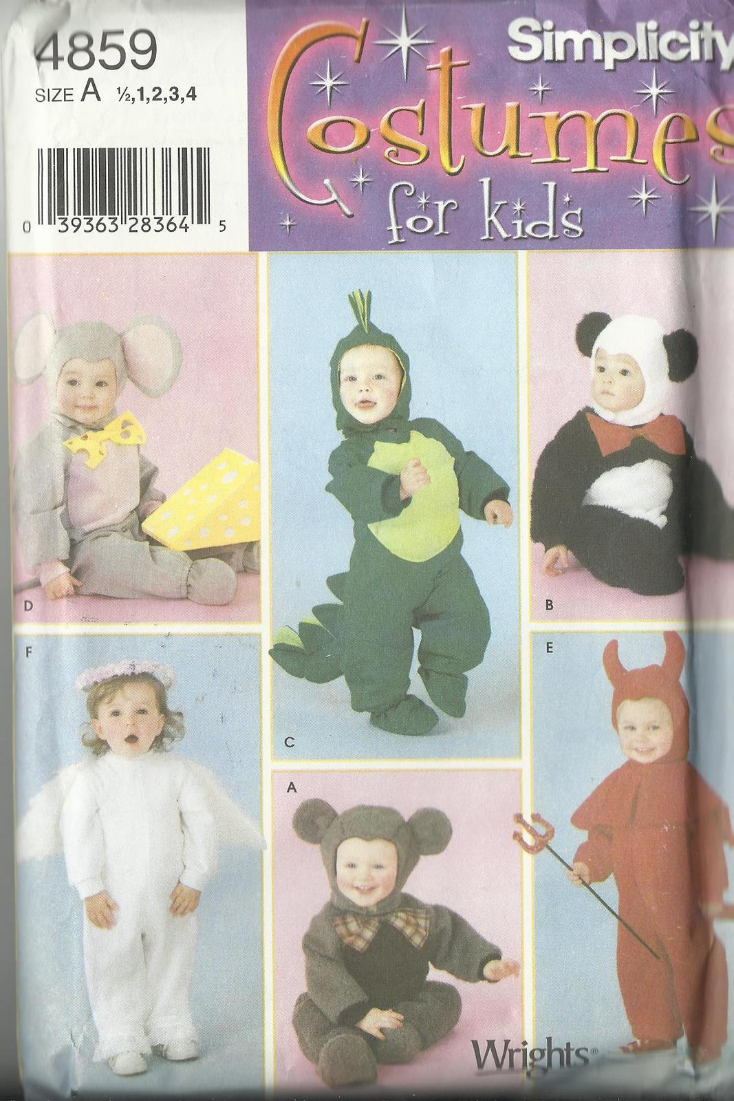 Simplicity 4859 Pattern Costume baby 1 2 3 4 mouse panda angel monkey alligator Simplicity