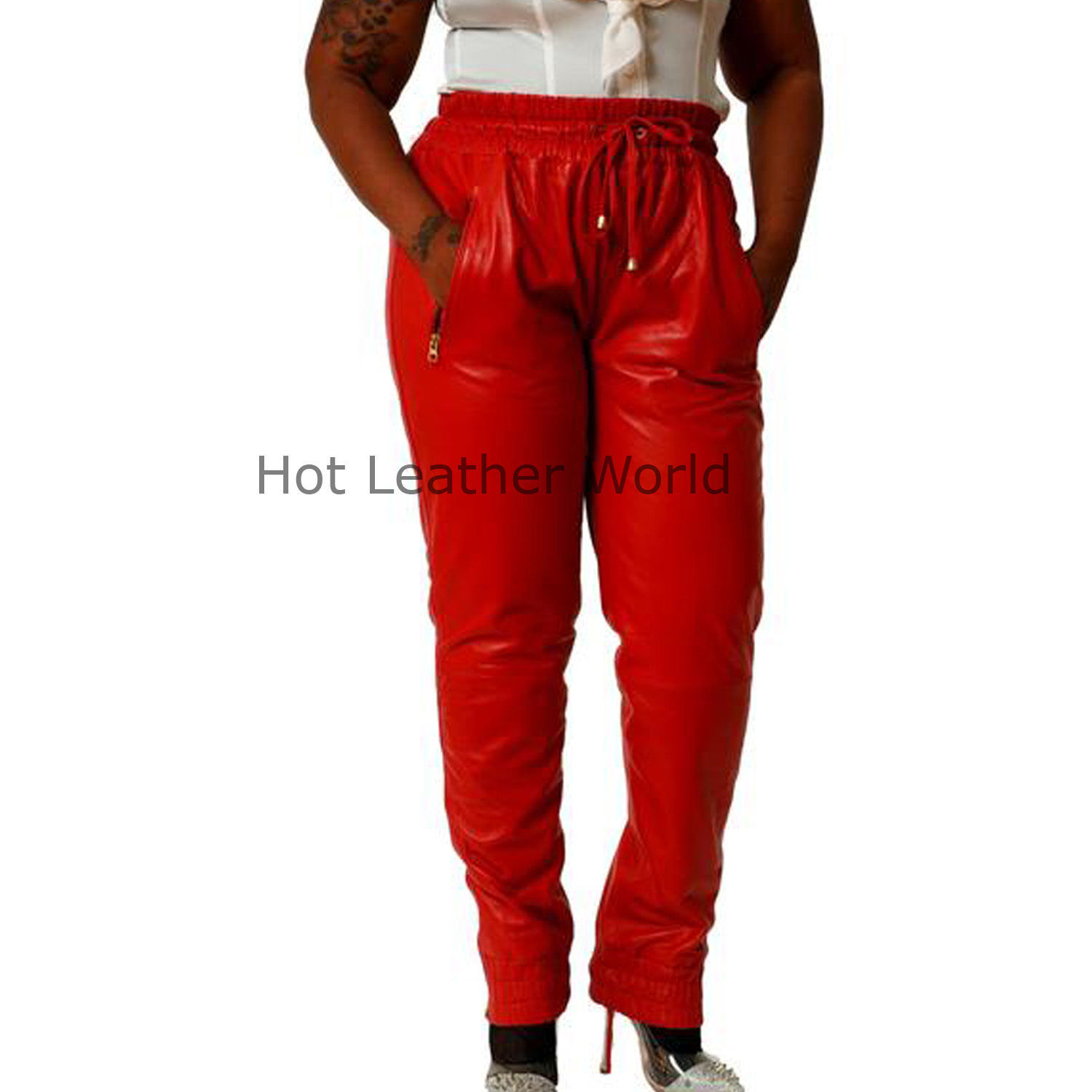 HotLeatherWorld Women Sexy Trendy Women Leather Pant Leather Capri Trouser P-14