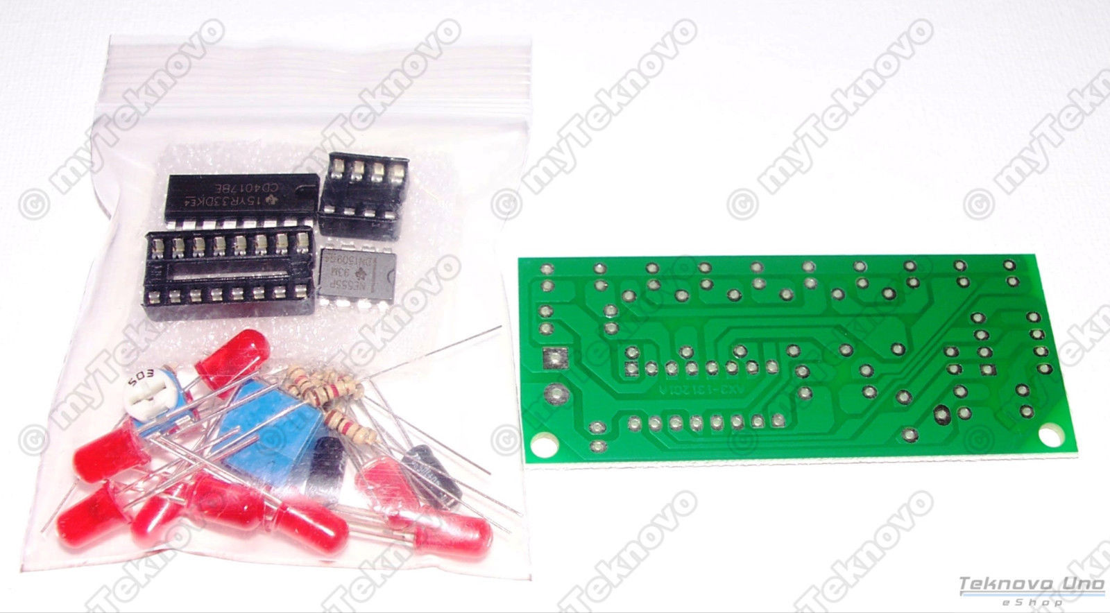 x4 NE555 & CD4017 LED Light Scroller / Chaser / Follower / Sequencer DIY KIT USA