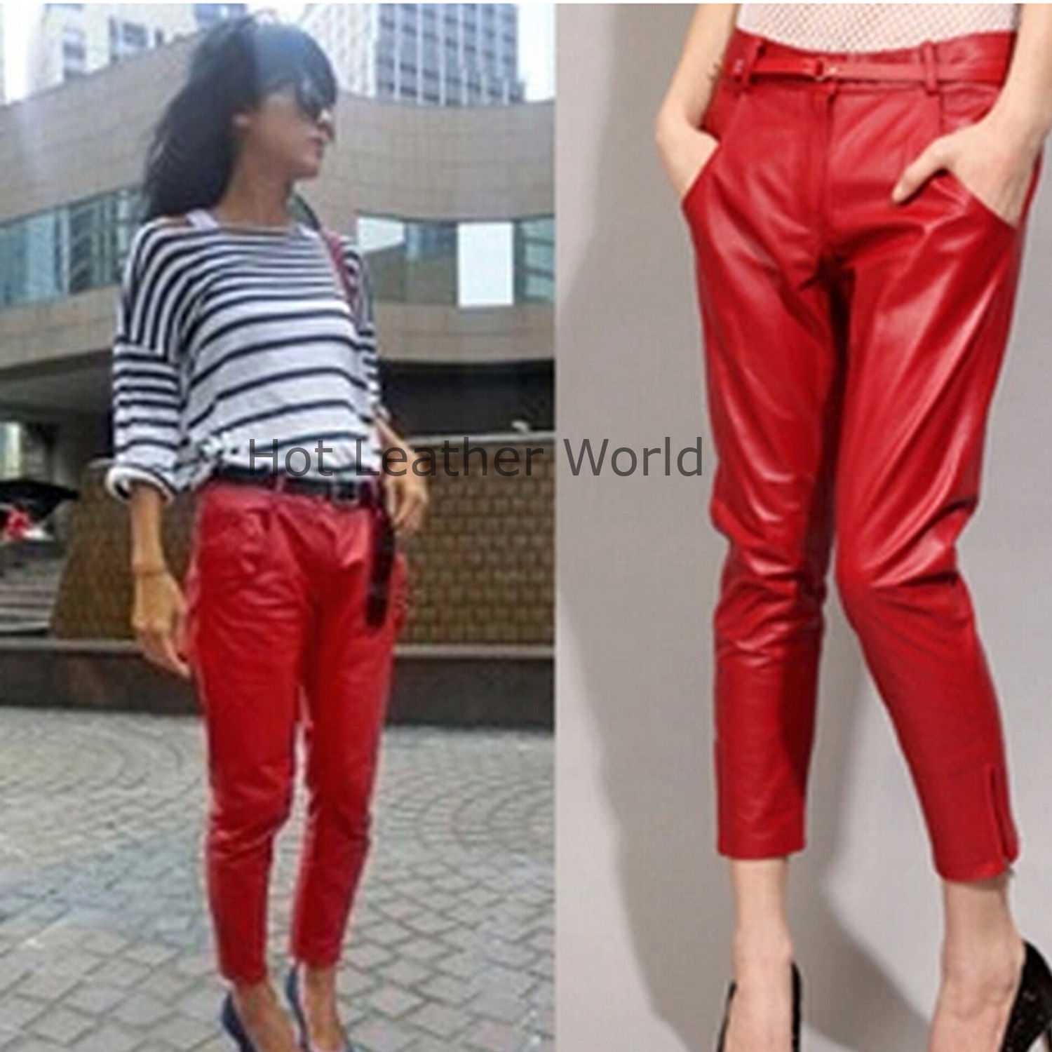 HotLeatherWorld Women Sexy Trendy Women Leather Pant Leather Capri Trouser P-15