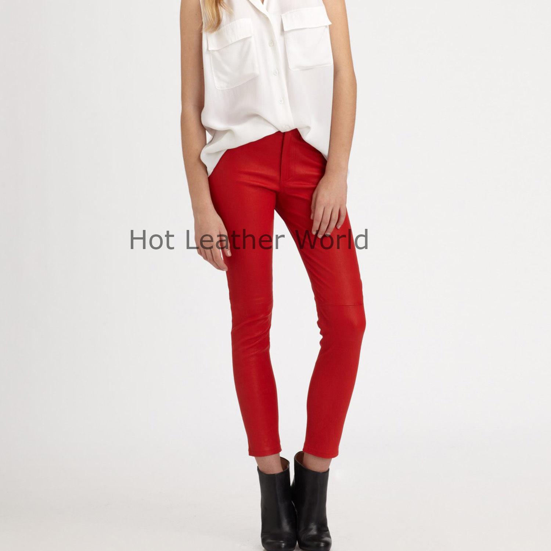 HotLeatherWorld Women Sexy Trendy Women Leather Pant Leather Capri Trouser P-17
