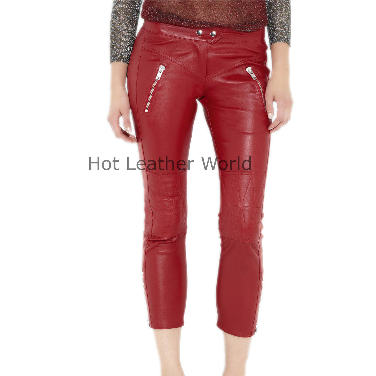 HotLeatherWorld Women Sexy Trendy Women Leather Pant Leather Capri Trouser P-19