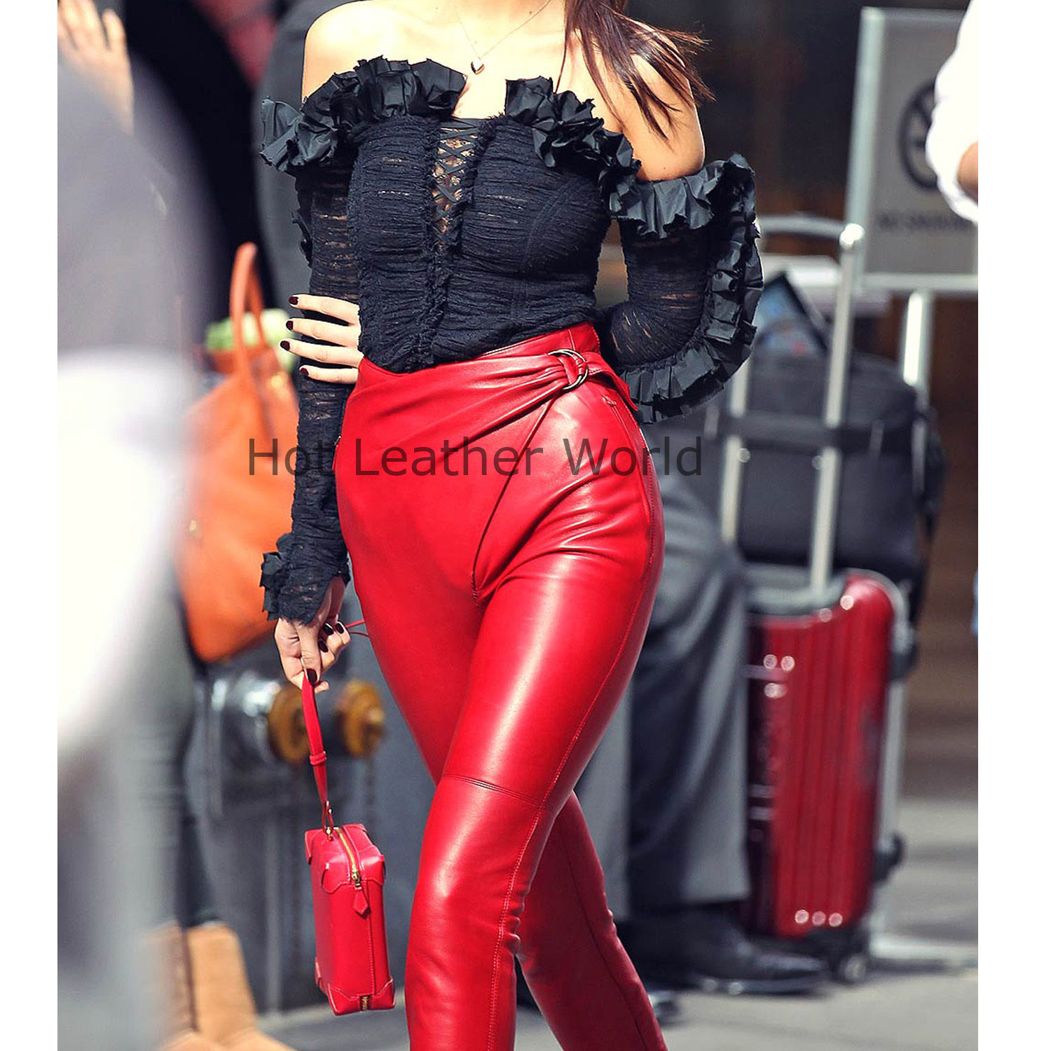 HotLeatherWorld Women Sexy Trendy Women Leather Pant Leather Capri Trouser P20