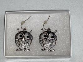 Owl on Branch Earrings Silver tone Fashion Jewelry Box Women Black Eyes ... - $24.99